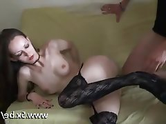 Amateur, Blowjob, French, Stockings, Threesome