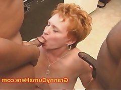 Cum in mouth, Granny, Interracial, Mature