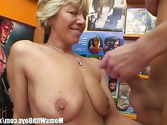 Blonde, Blowjob, Granny, Mature, Old and Young