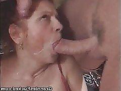 Blowjob, Cumshot, Granny, Mature, Threesome